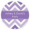 Chevron Purple - Personalized Everyday Party Sticker Labels - 24 ct