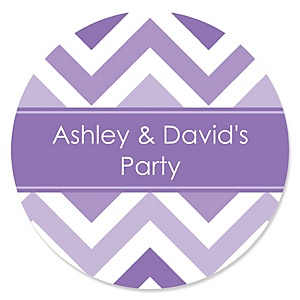 Chevron Purple - Personalized Party Sticker Labels - 24 ct
