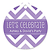 Chevron Purple - Round Personalized Everyday Party Tags - 20 ct