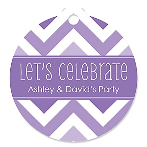 Chevron Purple - Round Personalized Party Tags - 20 ct