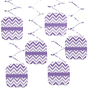 Chevron Purple - Baby Shower Hanging Decorations - 6 ct
