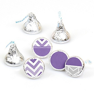 Chevron Purple - Round Candy Labels Party Favors - Fits Hershey's Kisses - 108 ct