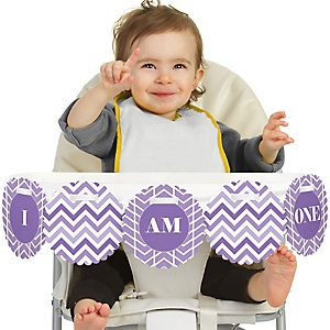 Chevron Purple 1st Birthday - I am One - First Birthday High Chair Banner