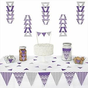 Chevron Purple - 72 Piece Triangle Party Decoration Kit