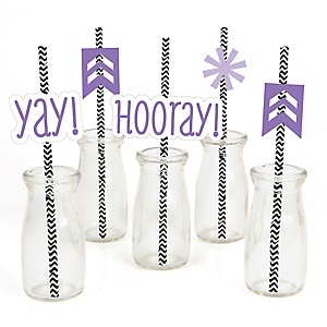 Chevron Purple - Paper Straw Decor - Baby Shower or Birthday Party Striped Decorative Straws - Set of 24