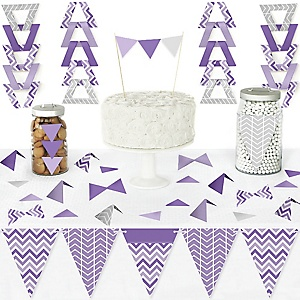 Chevron Purple - DIY Pennant Banner Decorations - Baby, Bridal Shower or Birthday Party Triangle Kit - 99 Pieces