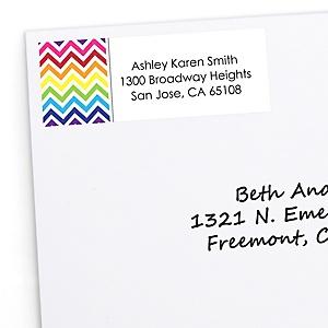 Rainbow Chevron - Personalized Baby Shower Return Address Labels - 30 ct