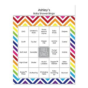 Rainbow Chevron - Bingo Personalized Baby Shower Games - 16 Count
