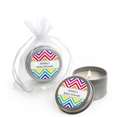 Chevron Rainbow   Personalized Baby Shower Candle Tin Favors   Set Of 12