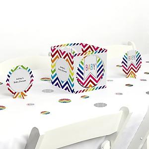 Chevron Rainbow - Baby Shower Centerpiece & Table Decoration Kit