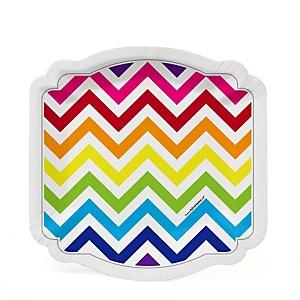 Chevron Rainbow - Baby Shower Dessert Plates - 8 ct