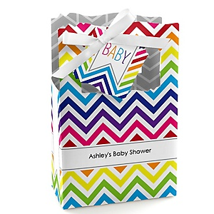 Chevron Rainbow - Personalized Baby Shower Favor Boxes