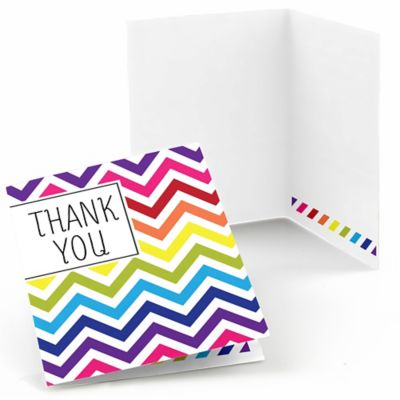 Chevron Rainbow   Baby Shower Thank You Cards   8 Ct