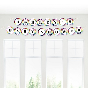 Chevron Rainbow - Personalized Baby Shower Garland Letter Banners