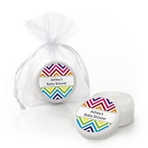 Chevron Rainbow - Personalized Baby Shower Lip Balm Favors