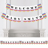 Rainbow Chevron - Personalized Baby Shower Bunting Banner