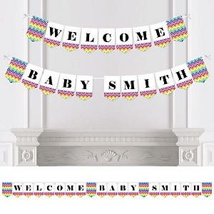 Chevron Rainbow - Personalized Baby Shower Bunting Banner & Decorations