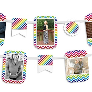 Chevron Rainbow - Baby Shower Photo Garland Banners