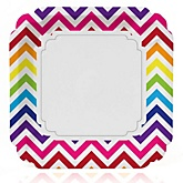 Chevron Rainbow - Baby Shower Dinner Plates - 8 ct