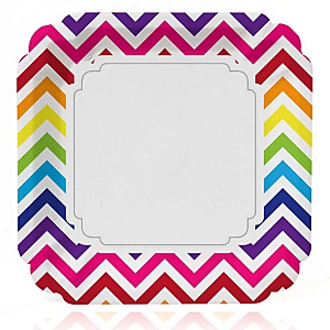 Chevron Rainbow - Baby Shower Dinner Plates - 8 ct