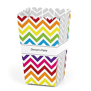 Chevron Rainbow - Personalized Party Popcorn Favor Treat Boxes - Set of 12