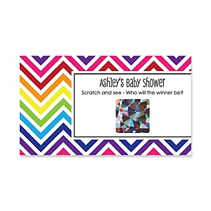 Chevron Rainbow - Personalized Baby Shower Game Scratch Off Cards - 22 ct