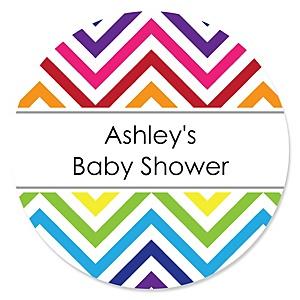 Chevron Rainbow - Personalized Baby Shower Sticker Labels - 24 ct