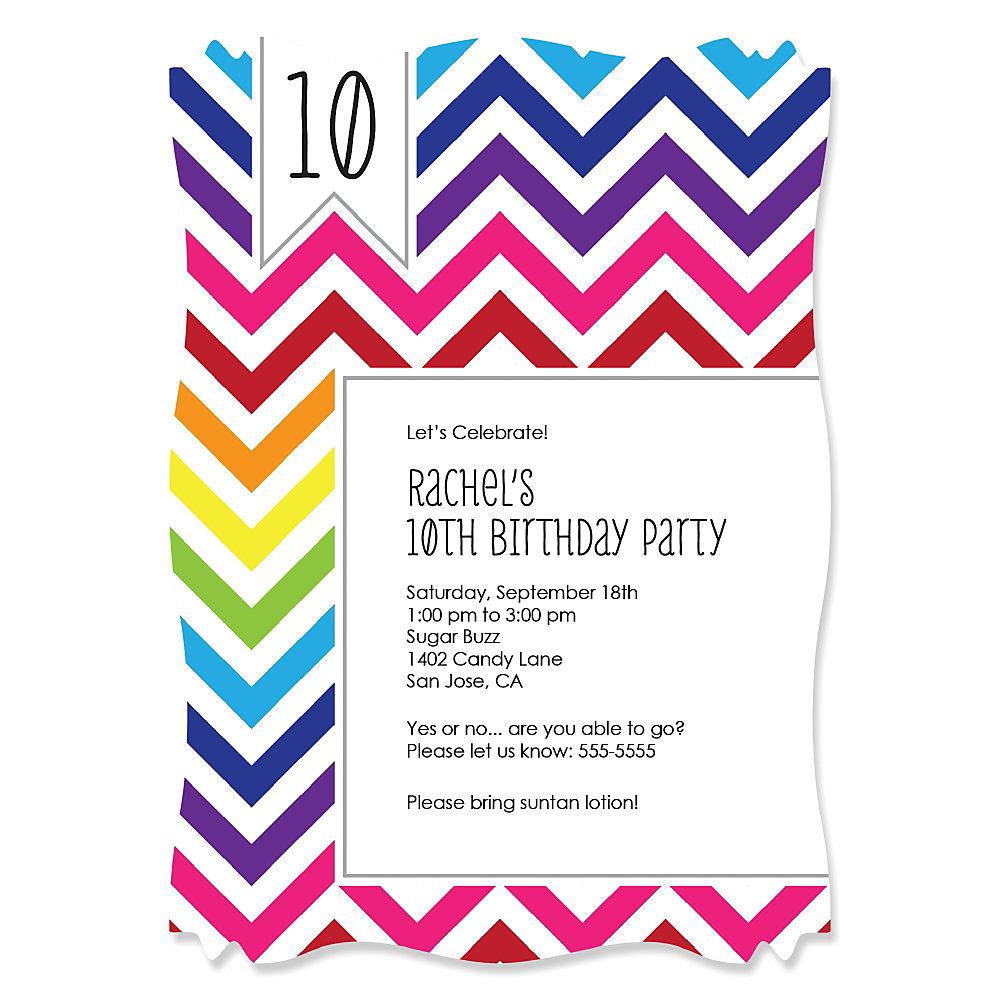chevron rainbow personalized birthday party invitations set of
