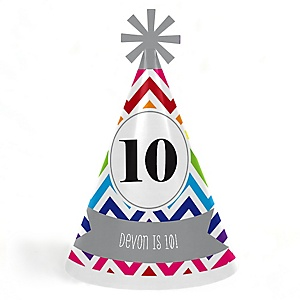Chevron Rainbow - Personalized Cone Happy Birthday Party Hats for Kids and Adults - Set of 8 (Standard Size)