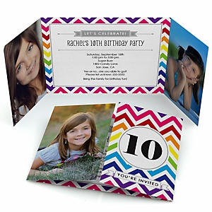 Chevron Rainbow - Personalized Birthday Party Photo Invitations - Set of 12