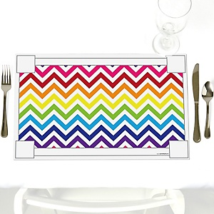 Chevron Rainbow - Party Table Decorations - Party Placemats - Set of 12