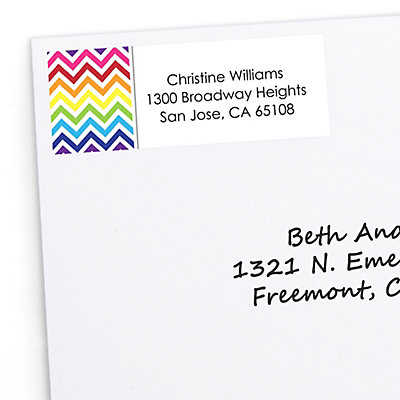 chevron rainbow personalized bridal shower return address labels