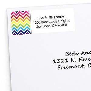 Chevron Rainbow - Personalized Party Return Address Labels - 30 ct