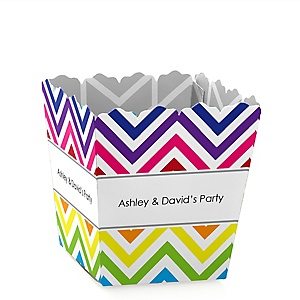 Chevron Rainbow - Party Mini Favor Boxes - Personalized Party Treat Candy Boxes - Set of 12