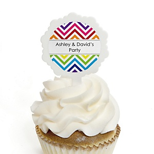 Chevron Rainbow - Personalized Party Cupcake Pick and Sticker Kit - 12 ct