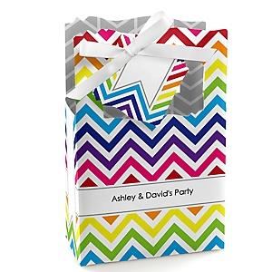 Chevron Rainbow - Personalized Party Favor Boxes - Set of 12