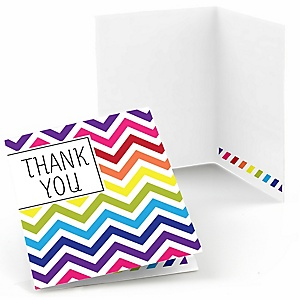 Chevron Rainbow - Party Thank You Cards - 8 ct