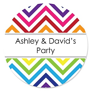 Chevron Rainbow - Personalized Party Sticker Labels - 24 ct