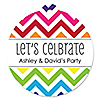 Chevron Rainbow - Round Personalized Everyday Party Tags - 20 ct