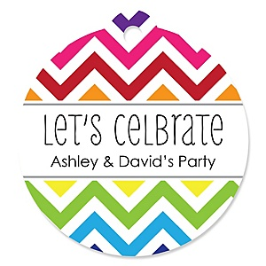 Chevron Rainbow - Round Personalized Party Tags - 20 ct