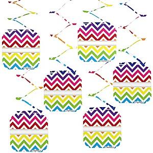 Chevron Rainbow - Baby Shower Hanging Decorations - 6 ct