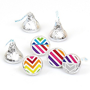 Chevron Rainbow - Round Candy Labels Party Favors - Fits Hershey's Kisses - 108 ct
