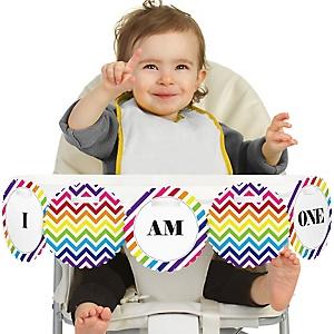 Chevron Rainbow 1st Birthday - I am One - First Birthday High Chair Banner