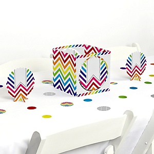Chevron Rainbow - Baby, Bridal Shower or Birthday Party Centerpiece and Table Decoration Kit