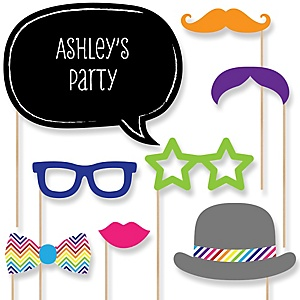 Rainbow Chevron - Baby Shower Photo Booth Props Kit - 20 Props