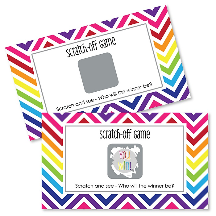Chevron Rainbow - Party Game Scratch Off Cards - 22 ct