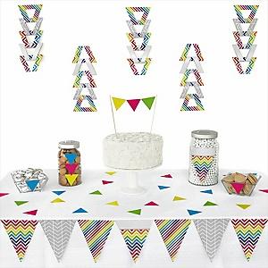 Chevron Rainbow -  Triangle Party Decoration Kit - 72 Piece