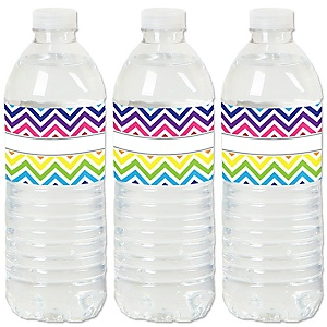 Chevron Rainbow - Baby, Bridal Shower or Birthday Party Water Bottle Sticker Labels - Set of 20