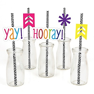 Chevron Rainbow - Paper Straw Decor - Baby Shower or Birthday Party Striped Decorative Straws - Set of 24