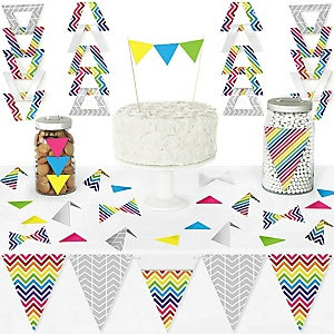Chevron Rainbow - DIY Pennant Banner Decorations - Baby, Bridal Shower or Birthday Party Triangle Kit - 99 Pieces